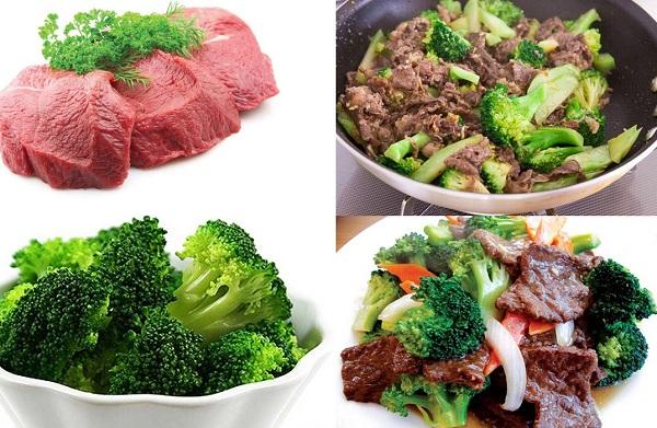súp lơ xanh xào thịt bò món ăn tăng cường sinh lý nam